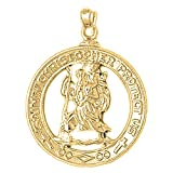 Yellow Gold-plated 925 Silver 36mm Saint Christopher Pendant Necklace