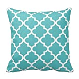 Turquoise Blue and White Decorative Cushion Covers Throw Pillow Case Moroccan Quatrefoil Pattern Print Square Two Sides 18X18 Inch