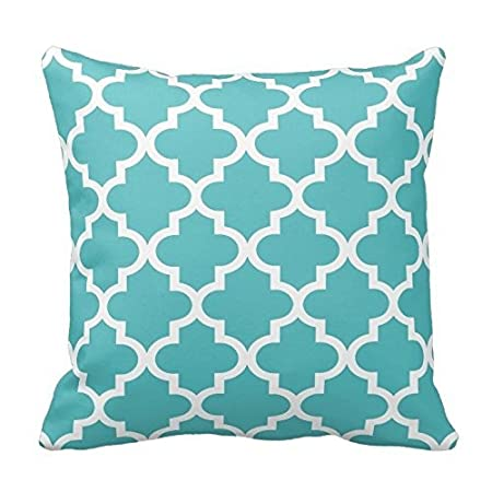 Turquoise Blue and White Decorative Cushion Covers Throw Pillow Case Moroccan Quatrefoil Pattern Print Square Two Sides 16X16 Inch Poppy-Baby P-B101-21213932-1