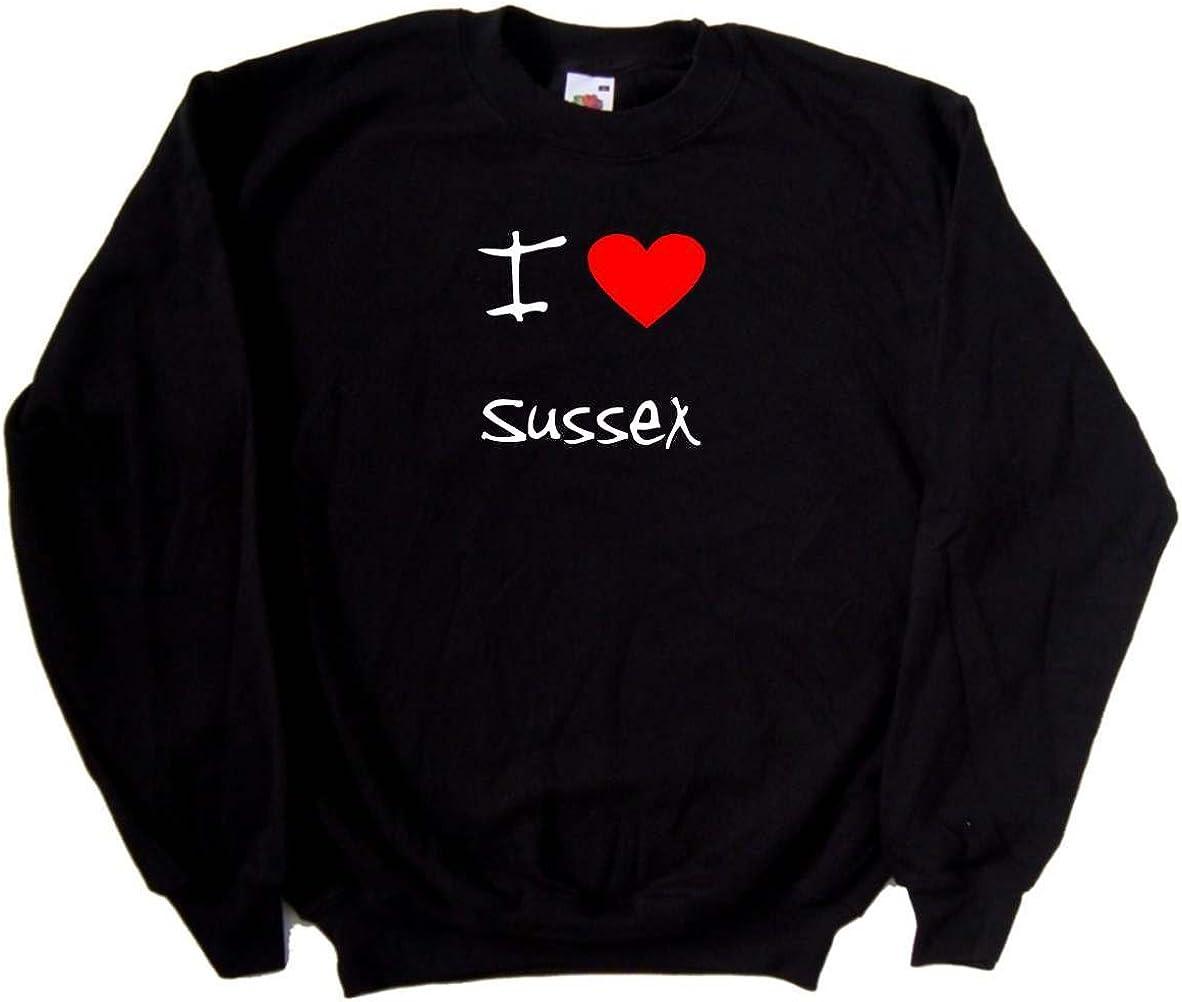 I Love Heart Sussex Black Sweatshirt
