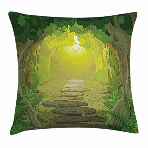 Ambesonne Forest Throw Pillow Cushion Cover, Magical Pathway with Trees and Ferns Fantastic Ancient Fairytale, Decorative Square Accent Pillow Case, 18 X 18 Inches, Sage Yellow and Fern Green (Sage Yellow)