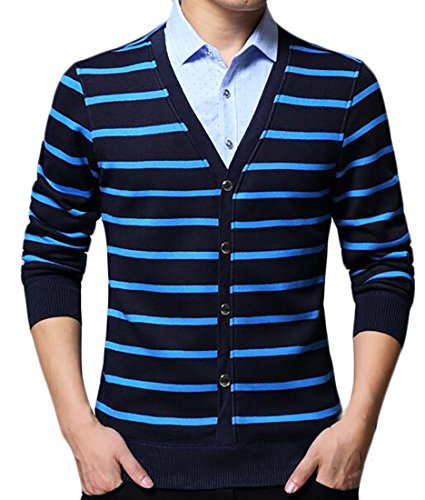 today-UK Mens Casual Fleece Lined Long Sleeve Fake Two Piece Sweater Pullover 2