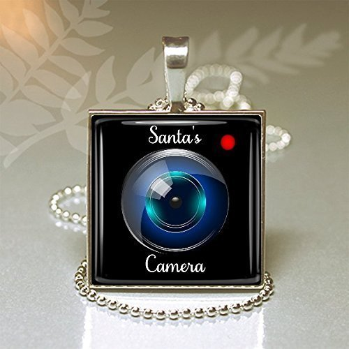 Santa Camera Glass Pendant Santa's Camera Handmade Santa's Cam - Lens Camera Illustration
