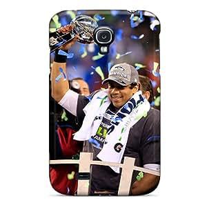 Unique Design Galaxy S4 Durable Tpu Case Cover Seattle Seahawks Win Trophy Super Bowl