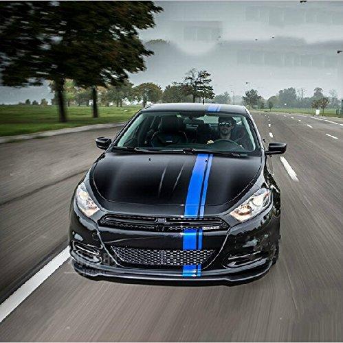 Amazon com dokot 50 blue vinyl racing stripe decal sticker for car decoration fender hood roof side trunk skirt bumper sports outdoors