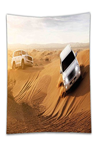 Safari Magnetic Activity Table (Interestlee Satin drill Tablecloth?Sports Decor Race in African Desert Safari Adventure Exotic Hobby Activity Picture Sand Brown White Dining Room Kitchen Rectangular Table Cover Home Decor)