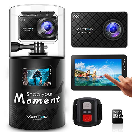 - VanTop Moment 4 4K Sports Action Camera w/ 32GB Microsd Card, 20MP Sony Sensor, EIS, Touch Screen, Adjustable View Angle, 30M Waterproof, Remote, Dual Battery & GoPro Compatible Accessories Kit