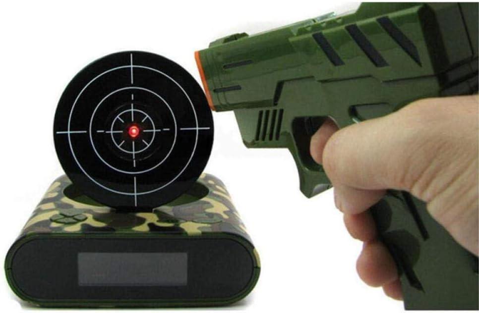 FPRW 1Conjunto Despertador de Pistola, Disparar Despertador, Bloquear y Cargar Reloj Inteligente de Destino, Juguete Divertido para niños Gadgets de Oficina, Verde Militar