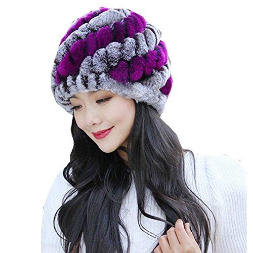 Cap Denim Headgear (Ratoop Women' Winter Warm Fashion Hats Handmade Warm Caps Girls Female Headgear Headwear (Purple, One Size))