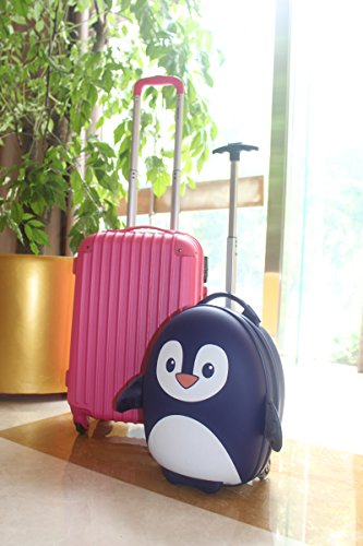 Cute Stylish Korean Design Children's EVA Blue Penguin Durable Travel Rolling Luggage On Wheels Trolley Bag | 16.7''x11.7''x7.4'' | Lightweight | Water Resistant by JustNile (Image #4)