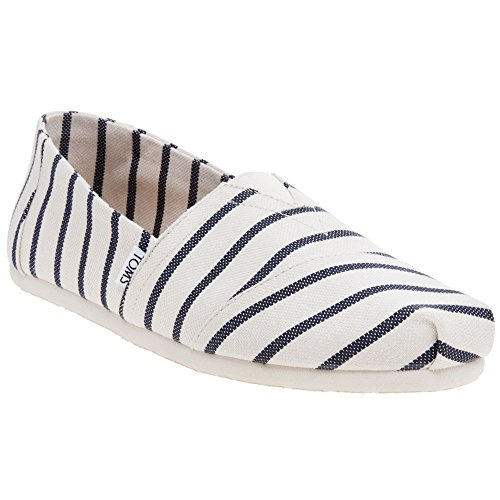 1356 Flat - TOMS Men's Seasonal Classics White/Navy Riviera Stripe 13 D US
