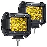 led amber driving lights - SAMLIGHT Led Light Bar, 4 Inch 3600lm 36W Amber Waterproof LED Driving Spot Fog Light for Off-road Truck Car ATV SUV Jeep Cabin Boat 2 PCS …