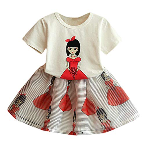 SUNBIBE Baby Girls Short Sleeve Cartoon Lady Girl Print Tops Skirt Casual Toddler Kid Girls Clothes Set Outfits (Age:5-6 Years Old, White)