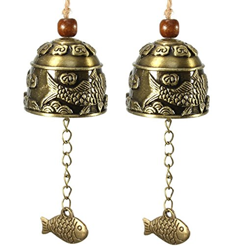 Selling Wonderful 2PCS Chinese Traditional Feng Shui Wind Chime - Vintage Style Fish Feng Shui Bell For Good Luck Blessing Fortune Home Car Crafts Hanging Decoration (Feng Shui Bell)