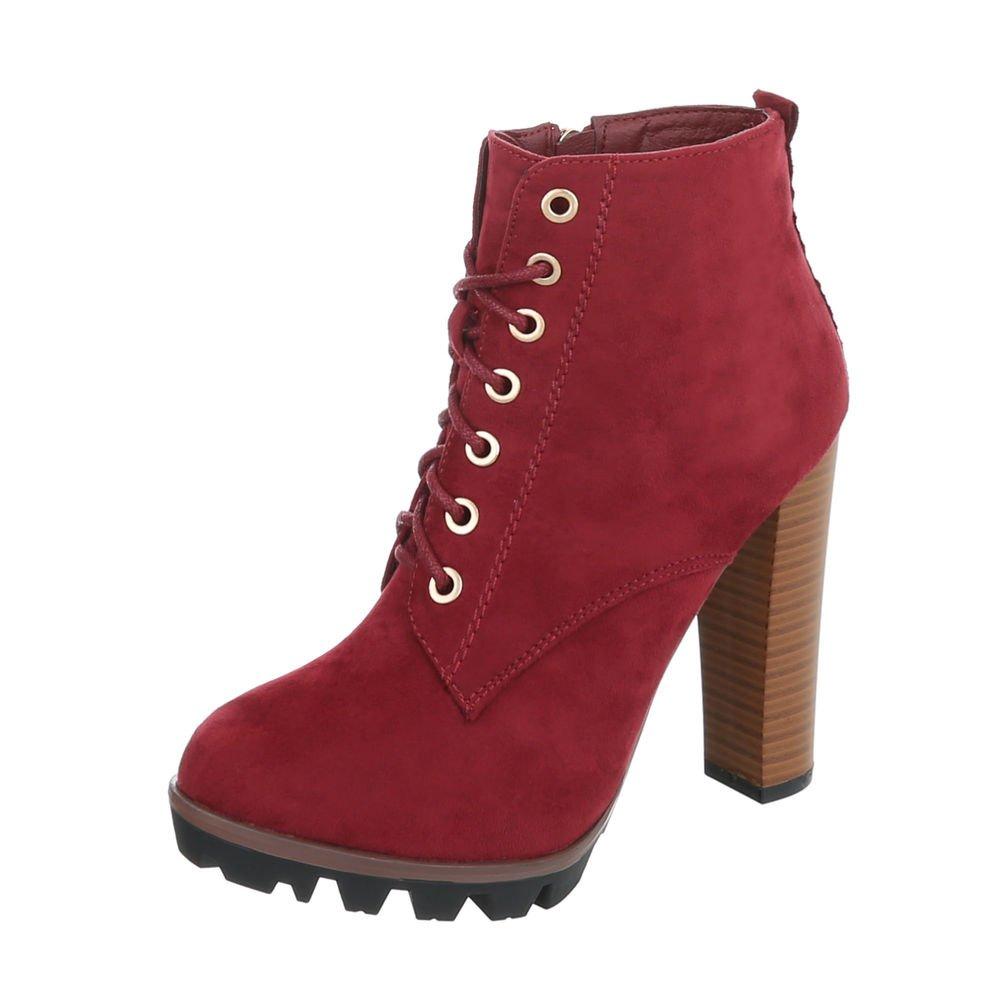 Ital-Design High Heel Stiefeletten Damenschuhe High Heel Stiefeletten Pfennig-/Stilettoabsatz High Heels Reißverschluss Stiefeletten  37 EU|Weinrot 118-1-1