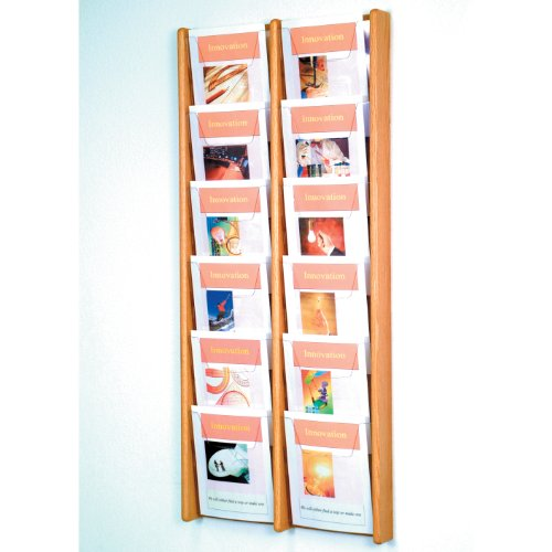 - DMD Magazine Rack, Literature Wall Display, 12 Pocket Solid Oak and Acrylic, Light Oak Wood Finish