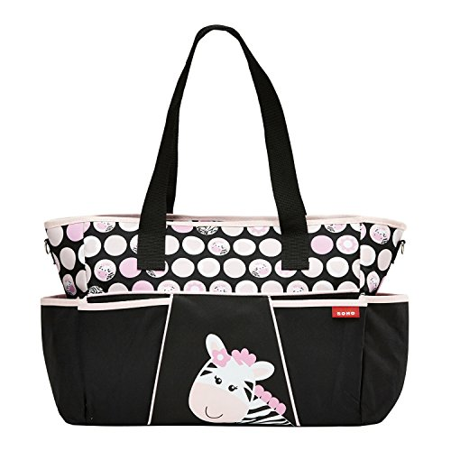 SoHo Diaper bag Pink zebra 9 pieces set nappy tote bag (Zebra Print Theme) Great Choice for Baby Shower Gifts Best ()