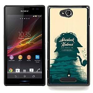 - Sherlock Detective London Big Ben/ Duro Snap en el tel????fono celular de la cubierta - Cao - For Sony Xperia C S39h C2305