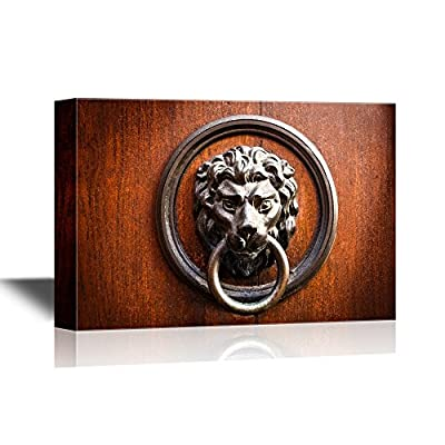 Doors Canvas Wall Art - Doorknocker with Head of Lion - Gallery Wrap Modern Home Art   Ready to Hang - 12x18 inches