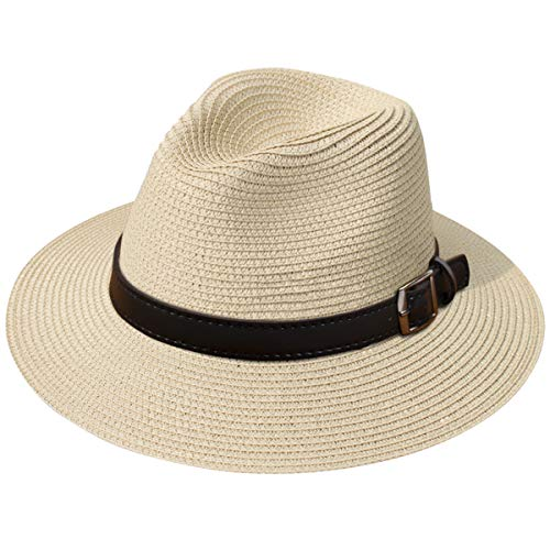 JOYEBUY Womens UPF50 Foldable Summer Straw Hat Wide Brim Fedora Sun Beach hat (Style G-Khaki)