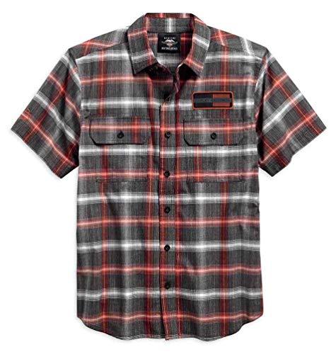 - Harley-Davidson Men's Classic Plaid Short Sleeve Garage Shirt 96121-18VM (L) Gray