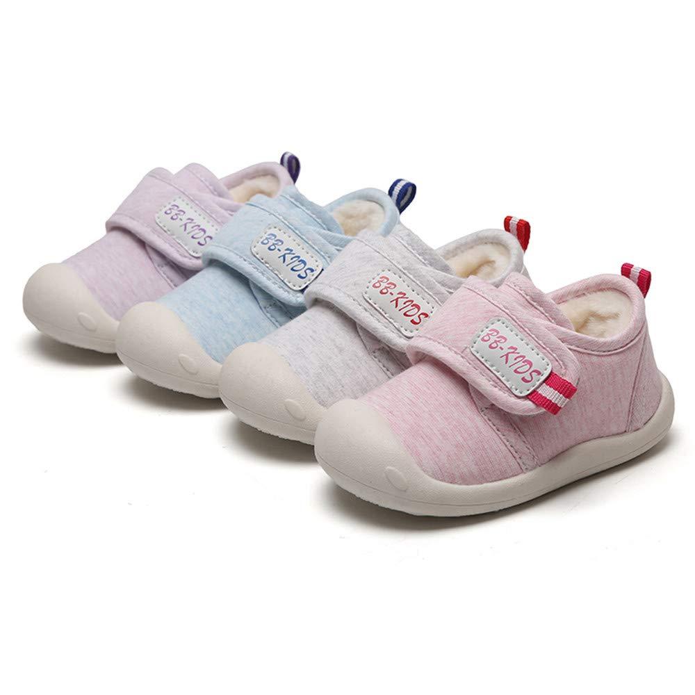 Longra B/éb/é Gar/çon Fille Chaussures Baskets Bambin Premier Chaud Antid/érapant Duveteux Marcheurs Chaussons Cuir Souple Enfant Semelles Douces de Berceau Sneaker Mignon Chaussures