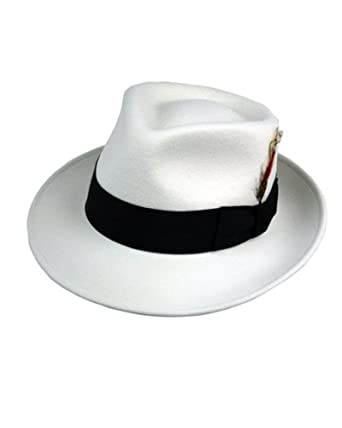 2e07f7fd6853e9 EZ Tuxedo Kent Crushable Trilby Fedora Hat in Soft White with Black Band ( Small -