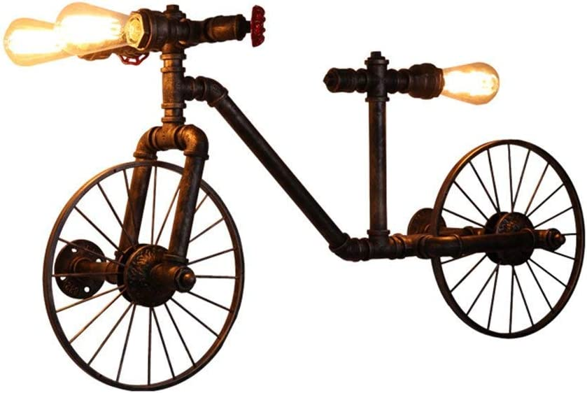 Lámpara De Pared De Hierro Retro Americana Cafe Restaurant Bar Lámpara De Pared con Manguera De Bicicleta Creativa - Luz De Pared De Oficina En Casa: Amazon.es: Hogar