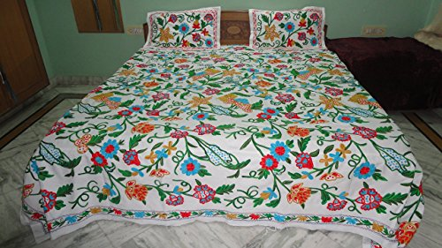 Christmas gift Multi colour embroidered king size bedspread with matching pillow cases by Pamposh