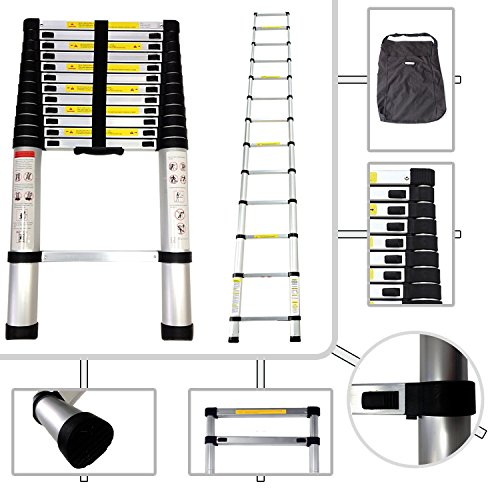 Keraiz DIY 2.6M, 3.8M & 4.4M TELESCOPIC EXTENDABLE EXTENSION LADDER EN131 MAX LOAD 150KG (3.8M- (12.5Ft)) by Stella Traders