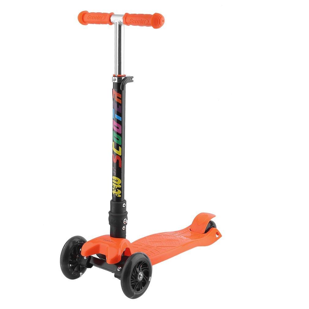 Blackpoolal Klappbar Kinderroller Dreiradscooter Höhenverstellbar Scooter Roller für Kinder Tretroller Kickboard Cityroller Kinder Roller mit 3 LED Räder bis 80 KG (Grün)