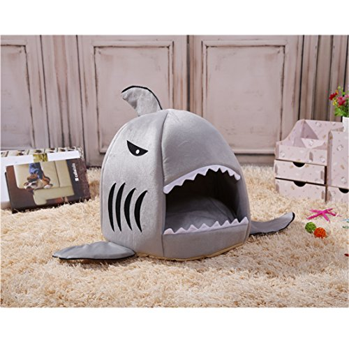 Cute Shark Round House Puppy Bed with Pet Bed Dog Kennel Mat Small to Medium well-wreapped