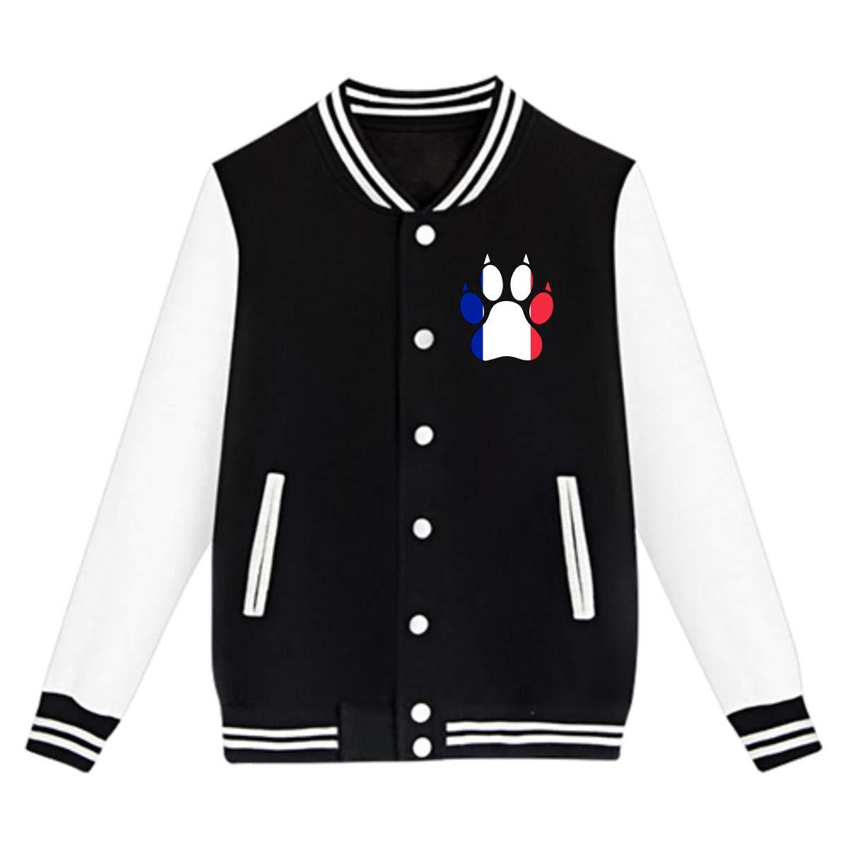 Unisex Youth Baseball Uniform Jacket France Flag Dog Paw Coat Sweatshirt Outwear