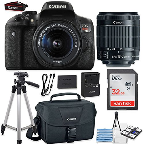 Canon Starter Kit (Canon EOS Rebel T6i 24.2MP DSLR Camera Bundle (Wi-Fi) with Canon EF-S 18-55mm f/3.5-5.6 IS STM Lens + Canon Camera Bag + 32GB Memory Card + Canon Deluxe Camera Bag + 50