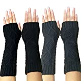 Novawo Women's Hand Crochet Winter Warm Fingerless Arm Warmers Gloves