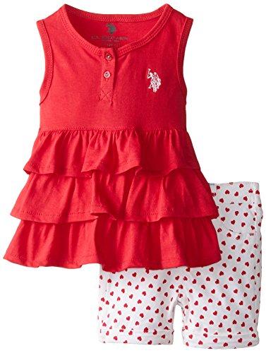 U.S. Polo Assn. Baby Girls' Ruffle Tank Top and Twill Short, Tea Berry, 12 Months