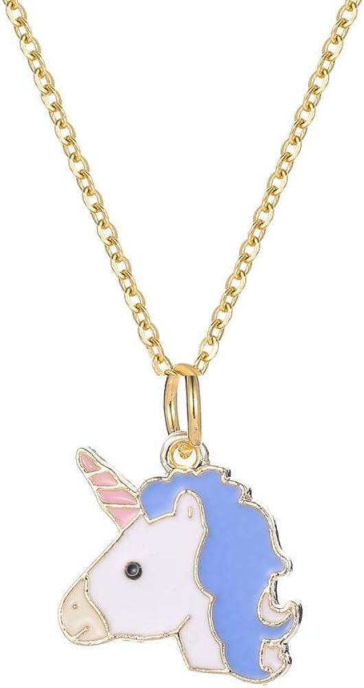 Collar Lindo Colgante de Unicornio de Dibujos Animados Lindo para niños niñas Colorido Caballo Colgante Collar Cadena de Oro joyería