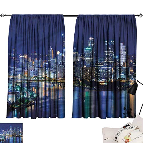 (Jinguizi Privacy Assured Window Treatment Darkening Curtains Cityscape,Skyscrapers Pittsburgh,Party Curtain Doorway W63 x L63)