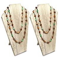 Ikee Design 2 pcs Set Wood Jewelry Display Bust with Easel for 3 Necklaces