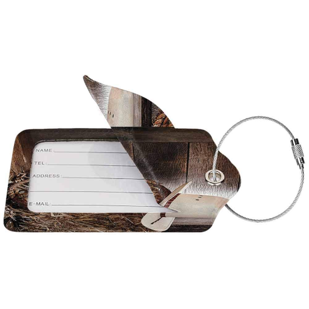 Soft luggage tag Western Decor American West Rodeo Hat With Traditional Ranching Robe On Wooden Ground Folk Art Photo Bendable Brown Beige W2.7 x L4.6