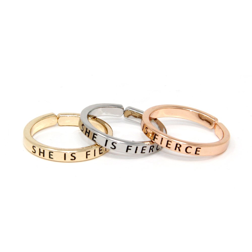 Me Plus Inspirational Positive Message Engraved Thin Finger Opening Rings 3 In 1 Set -28 Different Phrases (SHE IS FIERCE)