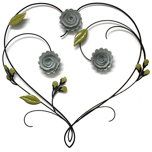 Fetco Leighton Bronze Floral Heart Metal Wall Art Tuscan Distressed