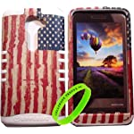 Cellphone Trendz High Impact Hybrid Rocker Case for LG G2 VS980 (Verizon only) – White Silicone with Hard Rustic American Flag Design