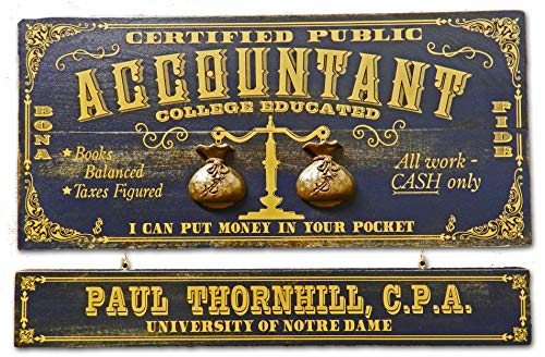 THOUSAND OAKS BARREL Accountant Professional Wood Plank Occupational Sign with Personalized Name Board