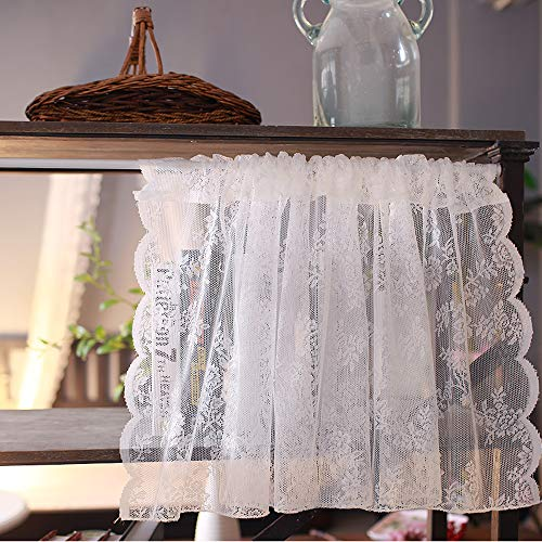 - ZHH Kitchen Cafe Curtain Sheer Lace Window Valance Embroideried Floral Curtain, 17 by 57-Inch, White