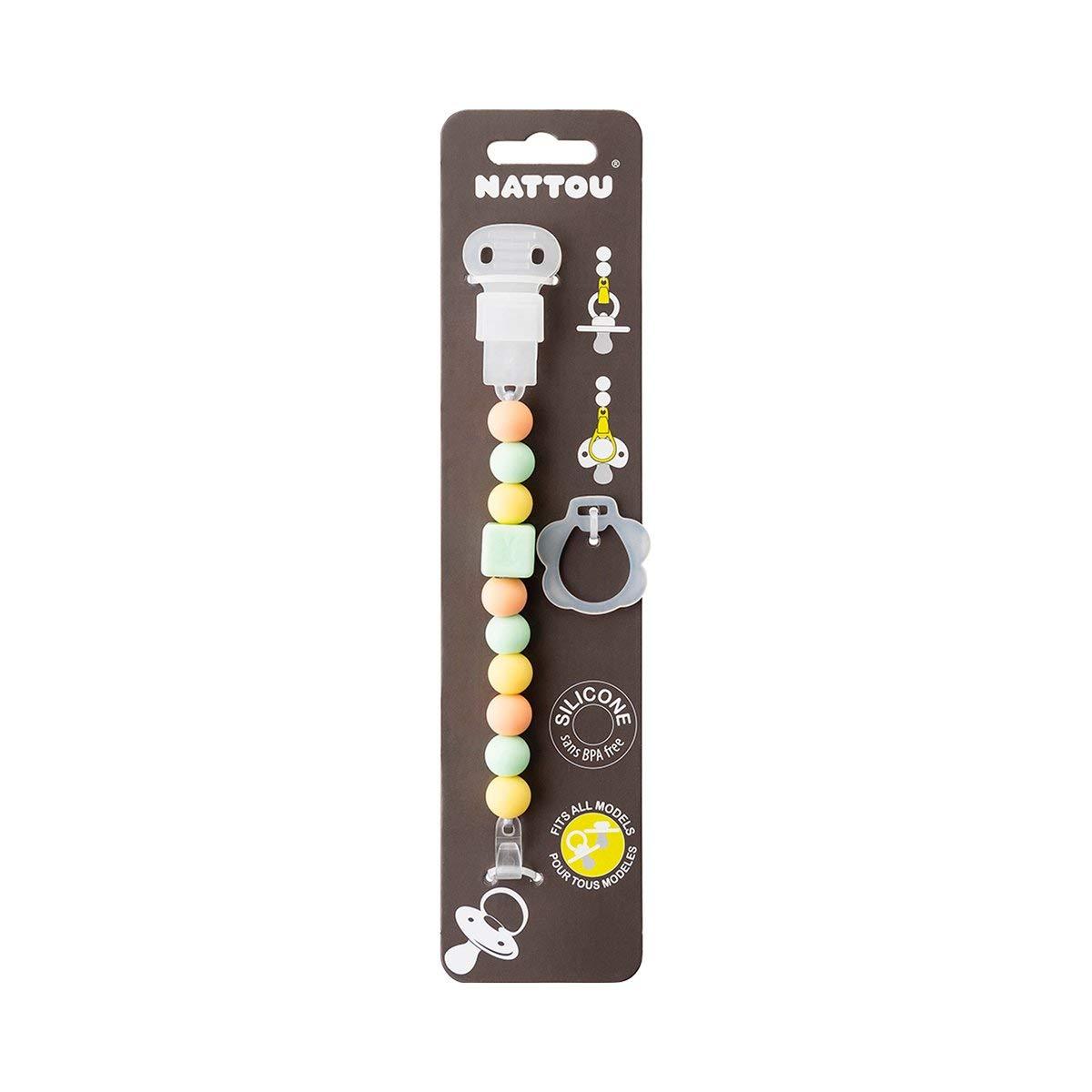 sans BPA Brun 27,5 x 3,3 x 23 cm Nattou Attache-Sucette avec Perles en Silicone pour tous Mod/èles