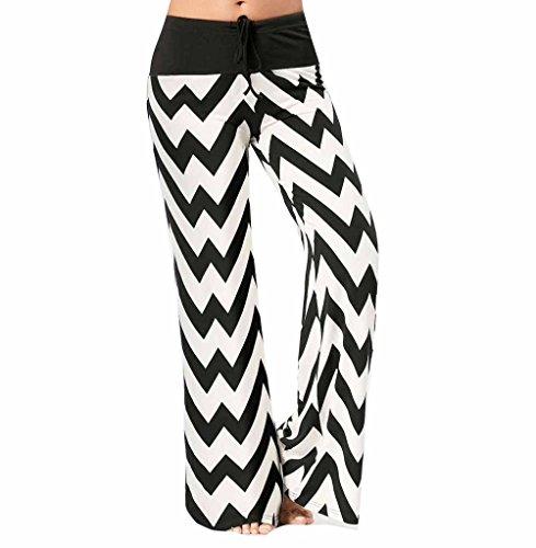 Todaies Womens Wide Leg Lounge Pants,Comfy Stretch Floral Print Drawstring Palazzo Pants (Black 4, L)