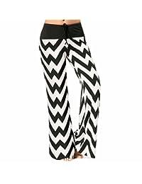ADOSSAC Women's Wide-Leg Pants Casual Trousers,Wave Pattern Ladies high Waist Wide Leg Pants
