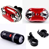 SODIAL(R) Cycling Bicycle 5 LEDs Front Head light 9 LEDs Back Rear Flashlight Ultra Bright