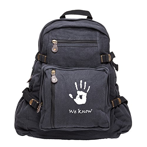 Skyrim We Know Army Heavyweight Canvas Backpack Bag in Black & , Large